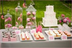 Dessert tables, dessert buffets and candy bars by color - pink and orange