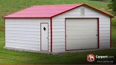 12′ x 21′ Metal Building Boxed Eave Garage #garage Metal Carports, Metal Garages, Rv Carports, Metal Shop Building, Building A Shed, Shop Buildings, Steel Buildings, Build A Shed Kit, Dibujo