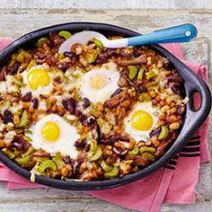 Verwarm de oven voor op 200 gr snijd de bleekselderij in kleine boogjes Verhit de olijfolie in hapjespan en bak de shoarmareepjes op hoog vuur, voeg 1 el paprikapoeder en de bleekselderij toe en bak nog +/- 5 min. aan. Voeg de kidneybonen, witte bonen in tomatensaus en 2/3 van de kaasblokjes toe aan het vlees.even omscheppen. Schep alles in een ovenschaal. Maak met een lepel 4 kuiltjes in het bonenmengsel, breek de eieren boven de kuiltjes en bestrooi met peper ( en event. zout)  Ve...