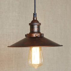 Eight Inches Wide Antique Copper Single Light Saucer Hanging Indoor Pendant - Beautifulhalo.com