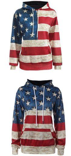 Vintage USA Flag Stars Stripe Hooded Jacket Ladies Casual Pullover Sweater #sweater #USA #vintage #flag #star #pullover #stripe