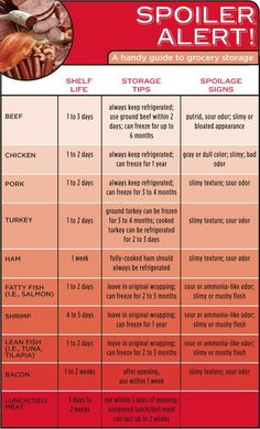 A Handy Infographic Guide to the Shelf Life of Meat and Fish Spoiler Alert! A Handy Infographic Guide to the Shelf Life of Meat and Fish Cooking 101, Cooking Recipes, Healthy Recipes, Cooking Hacks, Ham Cooking Time, Cooking Lamb, Cooking Classes, Pizza Recipes, Meat Recipes