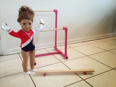 diy american girl knockoff gymnastics set, crafts, Knockoff American Girl Gymnastics Set Uneven Bars and Beam American Girl Doll Gymnastics, American Girl Crafts, American Girl Clothes, American Girls, Diy Doll Gymnastics Equipment, Gymnastics Set, Olympic Gymnastics, Olympic Games, Child Doll