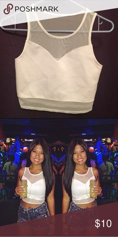 White tank top with mesh white crop top with mesh,  used once Tops Crop Tops