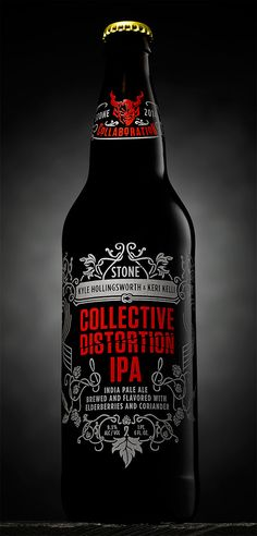 Collective Distortion IPA by Stone Brewing Co., via From up North Beer Brewing, Home Brewing, Bottle Packaging, Packaging Ideas, Branding, Beer Label Design, Best Craft Beers, Brew Pub, Beer Recipes