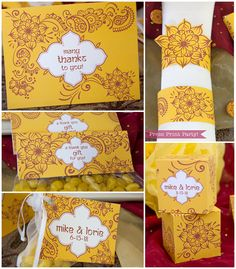Indian Red and Yellow Party Printables inspired by Wedding henna by PressPrintParty. mehndi favor boxes, napkin rings, thank you note