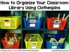 Are you wondering how to organize your classroom library? This classroom organization tip from The Clutter-Free Classroom will show you how to use clothespins to keep track of books.