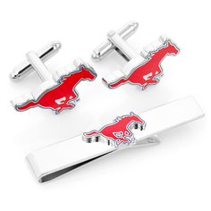 Smu Mustangs Cufflinks And Tie Bar Gift Set by Cufflinksman