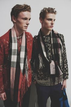 Paisley print and check scarves backstage at Burberry Prorsum AW15 LCM. See more here: http://www.dazeddigital.com/fashion/article/23187/1/burberry-prorsum-aw15