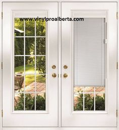 french doors exterior with built in blinds | French Doors & Garden Doors Edmonton, Edmonton, Sherwood Park, St ...