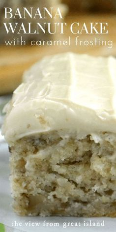 Banana Walnut Cake with Caramel Frosting — part banana bread, part snack cake, part blondie, this little banana cake is a must make! Best Cake Recipes, Sweet Recipes, Food Cakes, Cupcake Cakes, Snack Cakes, Cupcakes, Just Desserts, Delicious Desserts, Desserts With Bananas