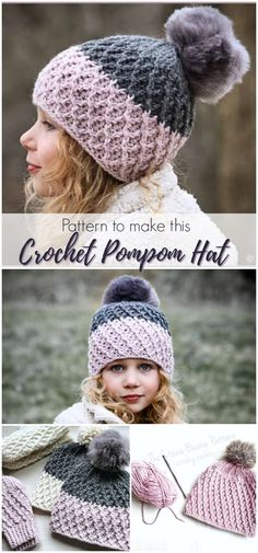 ad,pdf-Instructions for how to make this adorable crochet pompom hat. I love this textured crochet hat pattern, etsy ad pdf hat women kids stev Bonnet Crochet, Crochet Beanie Pattern, Crochet Mittens, Mittens Pattern, Crochet Gifts, Baby Knitting Patterns, Knitted Hats, Baby Mittens, Sewing Patterns