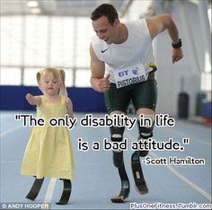 A little girl and Oscar Pitsorious run on high tech prosthetics. Scott Hamilton quote overlay