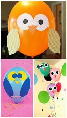 Balões corujinha - olhos, asas e nariz de cartolina colorida