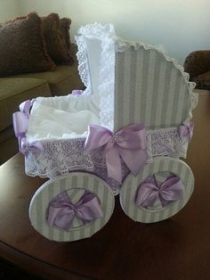 The Lindsey Gray And Lavender Baby Carriage by TheCarriageShoppe