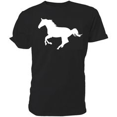 Horse Silhouette T Shirt Just Horsing Around Classic Round Neck Short... (160 MXN) ❤ liked on Polyvore featuring tops, t-shirts, black, women's clothing, print t shirts, henley t shirt, pattern shirts, unisex t shirts and black tee