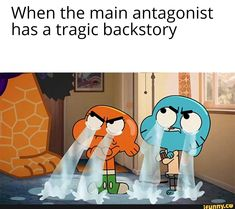 When the main antagonist has a tragic backstory - iFunny :) Memes Humor, Lol Memes, Stupid Funny Memes, Funny Relatable Memes, Haha Funny, Hilarious, Funny Stuff, World Of Gumball, Quality Memes
