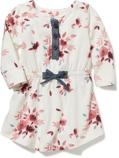 Floral Henley Tee Dress for Baby