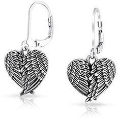 Bling Jewelry Angel Wing Heart Oxidized Sterling Silver Leverback Earrings.