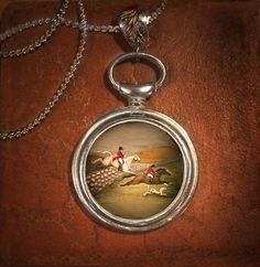 Vintage Fox Hunt Scene Watchface Pendant by HorseLadyGifts on Etsy, $29.99