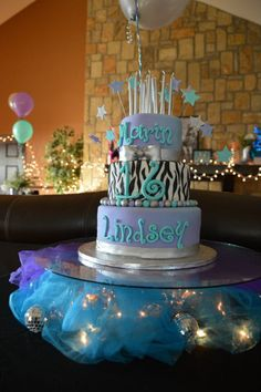 Sweet 16- decor by me, cake by RedRaspberry Cakes