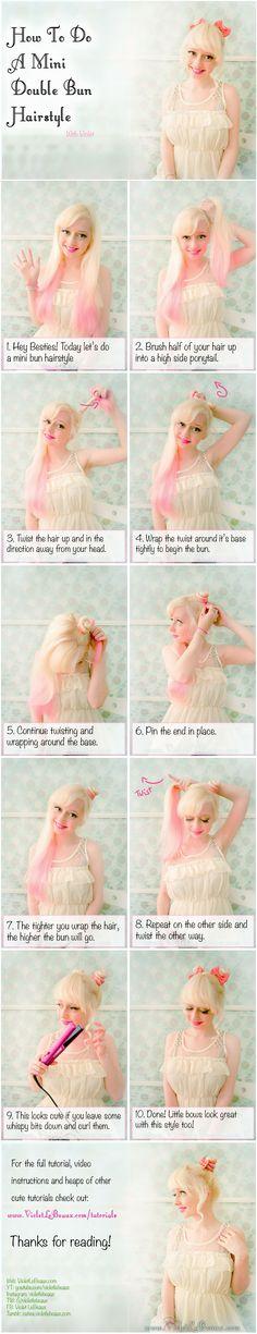 Mini Double Bun Hairstyle Tutorial | Violet LeBeaux- Cute Free Craft Tutorials