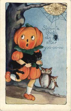 Halloween Postcard: Pumpkin Head Children, Owls