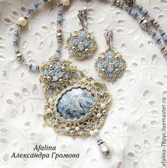 """Купить Комплект """"На берегу Босфора"""" - голубой, кианти, кулон с кианитом, Сваровски, серьги с кристаллами"""