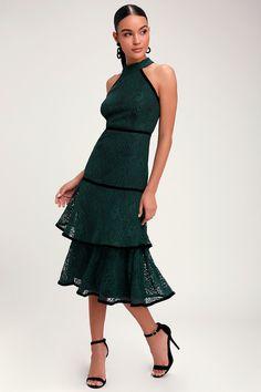 7bda6491347 Wilshire Forest Green Lace Halter Midi Dress. Lulus