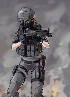 Anime girls with guns part Anime Military, Military Girl, Anime Outfits, Fantasy Characters, Anime Characters, Character Art, Character Design, Military Drawings, Anime Weapons
