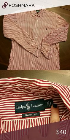 Ralph Lauren Men's classic fit shirt Red/white stripe men's button up Ralph Lauren Shirts Dress Shirts