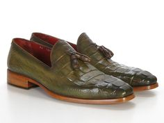 Paul Parkman Men's Green Crocodile Embossed Tassel Loafer via PAUL PARKMAN ® The Art of Handcrafted Men's Footwear. Click on the image to see more!