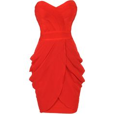 'COREY' RED STRAPLESS DRAPE BANDAGE DRESS and other apparel, accessories and trends. Browse and shop 8 related looks.