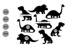 Dinosaur Monogram Svg (Graphic) by CosmosFineArt · Creative Fabrica Dinosaur Silhouette, Animal Silhouette, Silhouette Png, Silhouette Images, Free Svg Cut Files, Svg Files For Cricut, Girl Decor, Monogram Letters, Svg Cuts