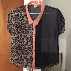 Shear Leopard Top - navy blue color - salmon color lining  - size S - worn once - great condition Tops Button Down Shirts