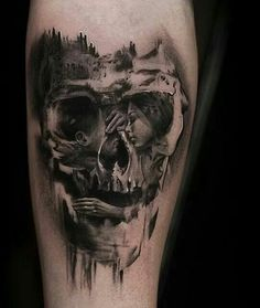 Optical skull tattoo