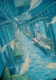The color scheme and surrealistic quality caught my eye first, but still a great illustration of one-point perspective, albeit slanted (so there are no true verticals or horizontals). Japon Illustration, Perspective Drawing, 1 Point Perspective, Anime Scenery, Surreal Art, Aesthetic Art, Art Studios, Art Inspo, Amazing Art