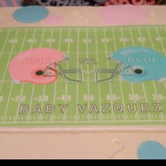Baby Reveal cake! This is my style 100% ! Boy or girl, their first love will be football!