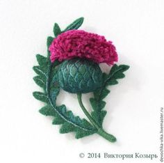 """*NEEDLE FELTED ART ~ Made in the technique of dry felting on the frame. Fair Masters - handmade brooch """"Thistle"""".  Handmade by: Victoria Trump, of Russia, Moscow"""