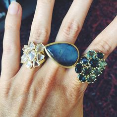 Three rings to drool over; Diamond Flower Cluster Ring, Labradorite Queen's Ring, and the Tourmaline Cluster Ring.