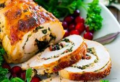 Moist and bold-flavor Stuffed Turkey Breast with Tuscan kale and cheese stuffing. This turkey roast is easy to put together, and makes gorgeous festive presentation on holiday dinner table. Rolled Turkey Breast Recipe, Turkey Filet Recipes, Stuffed Turkey, Thanksgiving Dinner Recipes, Roasted Turkey, Good Food, Xmas, Baking, Recipes