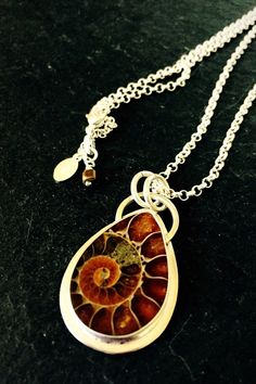 Ammonite Fossil & Sterling Silver Pendant by CrowDesignStudio on Etsy https://www.etsy.com/listing/264705780/ammonite-fossil-sterling-silver-pendant