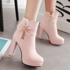 New Women Pink Round Toe Chunky Bow Fashion Martin Boots Available Sizes Shaft Height Heel Height Platform Height Heel Height :High Heel Type :Chunky Boot Shaft :Ankle Color :Pink Toe :Round Shoe Vamp :PU Leather Closure :Zipper High Heels Boots, Lace Up Heels, Heeled Boots, Shoe Boots, White High Heels, Pink Heels, Black Heels, Wedge Heels, Black Boots