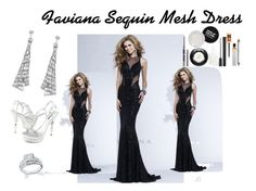 """""""Faviana Sequin Mesh Evening Dress"""" by edressme ❤ liked on Polyvore featuring Faviana, Reeds Jewelers, women's clothing, women's fashion, women, female, woman, misses and juniors"""