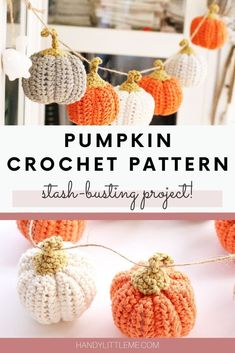 Make a set of mini crochet pumpkins to decorate your home this fall. Make in a variety of colours to form a pumpkin garland to hang in your home. This free pumpkin crochet pattern is also great for stash busting and using up those leftover yarn scraps! #crochet #pumpkin #stashbuster #minipumpkin #pumpkindiy