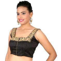 6e856be9e7557 Buy Black cotton silk embroidery non padded readymade blouse sleeveless- blouse online