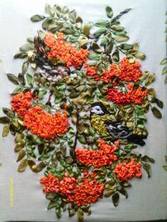 Orange berries #ribbonEmbroidery