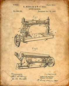 This is a print of the patent drawing for a sewing machine patent in 1885. The original patent has been cleaned up and enhanced to create an
