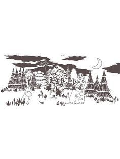Moomin In the forest cotton fabric