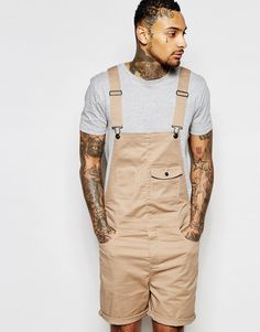 Image 1 of ASOS Short Overalls In Stone Twill